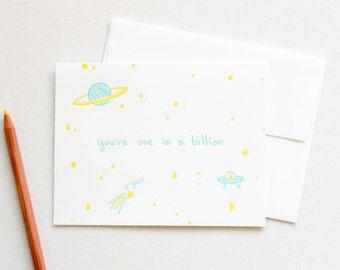 One in a Billion Love Letterpress Card