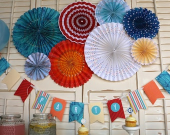 Hanging Paper Fans Rosettes Hanging Pinwheels Red White and Blue 4th of July Nautical Decoration Beach Wedding Decor Backdrop Background