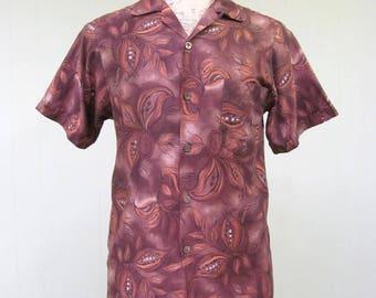 Vintage 1960s Hawaiian Shirt / 60s Brown Botanical Print Aloha Shirt / Small