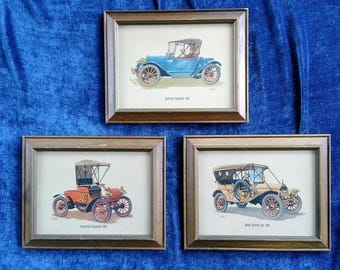 3 Antique Auto Pictures Framed Car Wall Decor