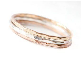 Tri-Color Stacking Rings - 14k Gold Filled, Sterling Silver & 14k Rose Gold Filled Stacking Ring Trio • 3 Minimalist Stackable Skinny Bands
