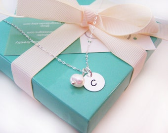 Bridesmaid Necklace - Simple Jewelry - Pearl Necklace - Initial Necklace - Sterling Silver - Freshwater Pearl - Bridesmaid Gift