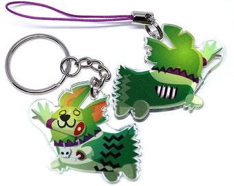 Zombie keychain, Corgi Key chain, zombie, halloween, cute halloween, corgi lover gift, halloween keychain, welsh corgi, corgi butt, spoopy