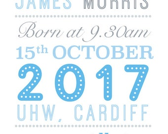 Personalised baby name print  - Birth Announcement Print