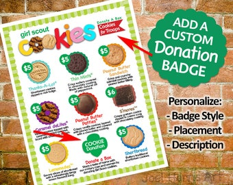 CUSTOMIZED Add-On 4 Girl Scout Menu Customize Your Cookie Page PERSONALIZED List for Troop Gift of Caring DONATE A Box Badge Printable Sign