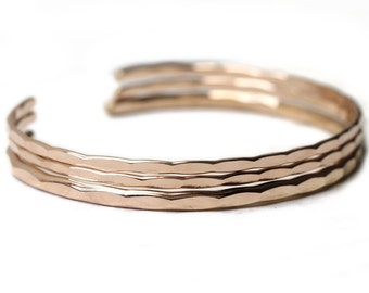 3 hammered stacking cuffs - 1 Medium and 2 thin bangles in silver, yellow, or rose gold