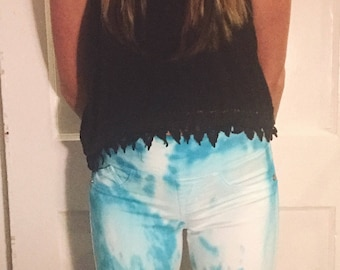 blue and white tie dyed pants