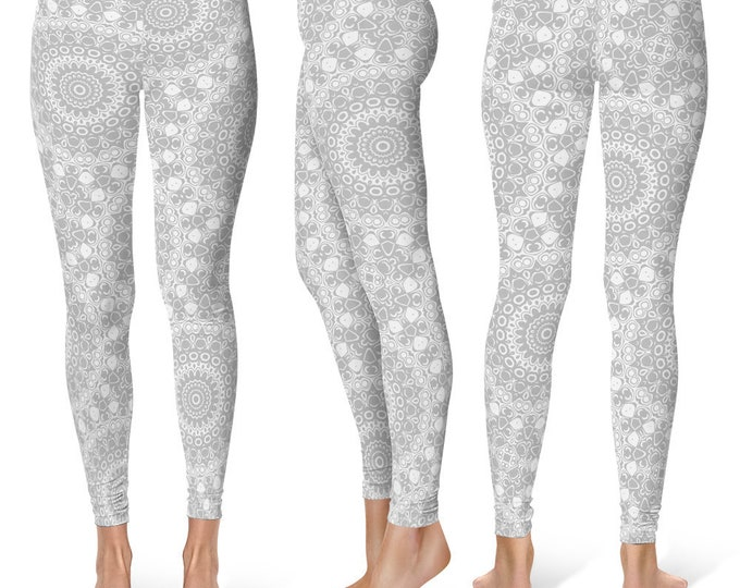 Silver Leggings Yoga Pants, Printed Yoga Tights for Women, Gray and White Mandala Pattern