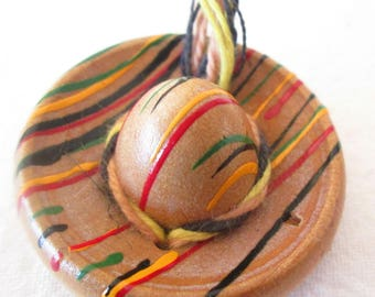 Button Sombrero Wood  4 Buttons Colorful and Rare Vintage