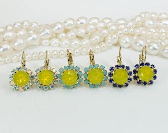Yellow Earrings Canary Yellow earrings Swarovski Crystal Earrings Aqua Royal Blue Turquoise AB Dangle Earrings,Wedding,Gold,Yellow Opal,GE96