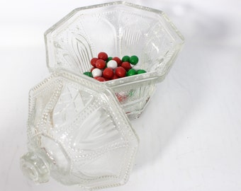 Vintage Avon Limited edition Candy Covered Dish Church Window Ornate Glass Pedestal Octagonal Bowl