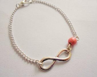 Infinity bracelet - infinite bracelet - pearl infinity bracelet - infinity charm bracelet - infinity charm - infinity jewelry