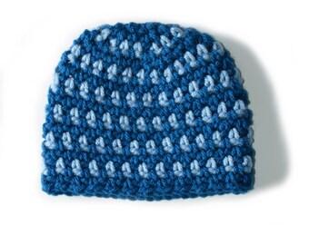 Newborn Baby Hat, Infant Boys Hat, Hospital Beanie, Newborn Photo Prop, Toddler Boys Beanie, Blue boys Hat, Knit Baby Hat, Crochet Baby Hat