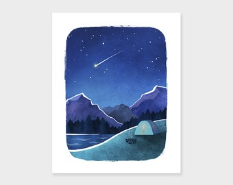 CAMPING Outdoor Recreation Print, Nature Art Print, Shooting Star, Mid Century Retro Scandinavian Inspired Poster, Home Decor Wall Art