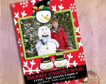 Christmas card, Custom Photo Christmas card, Holiday Card, Printable Christmas card, Snowman Christmas card: PRINTABLE DIGITAL FILE