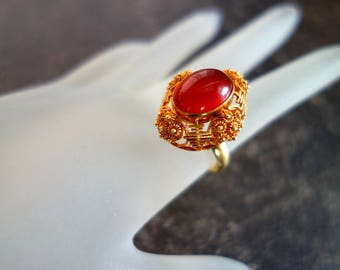 ANTIQUE CARNELIAN 14 K Gold Ring Handcrafted