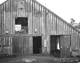 Barn photography black and white barn print, old barn picture, farmhouse home decor, rustic country farm house wall art, grey photo