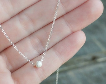 Sterling Silver Stardust Necklace / Tiny Single Ball Pendant on Sterling Silver Chain / Simple Minimalist Dainty Necklace
