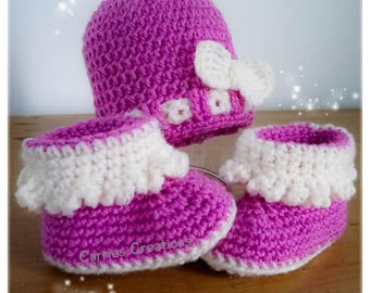 Gift set hat and booties, baby, gift set, crocheted booties, girls hat, baby shower, gift set, 0-3, crochet hat set, baby hat shoes