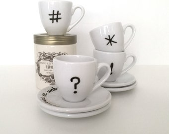 Upcycled Espresso Cups Set of 4 Funny Swear Words Typography Symbols