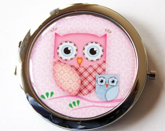 Owl compact mirror, mirror, purse mirror, compact mirror, pocket mirror, double sided mirror, pink owl, pink mirror, Kellys Magnets (2018)