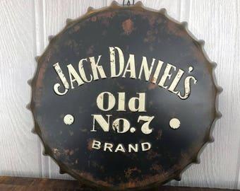 Vintage Jack Daniels Bottle Top Wall Sign, Great Christmas Gift!!!