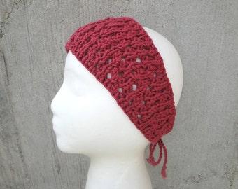 Barn Red Lace Headband, Ties in Back, Organic Cotton, Retro Fashion, Gift for Her, Beach Wear, Women Teen Girls