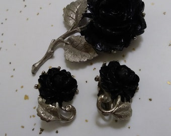 Vintage Black Rose Carved Celluloid Pin and Earring Set