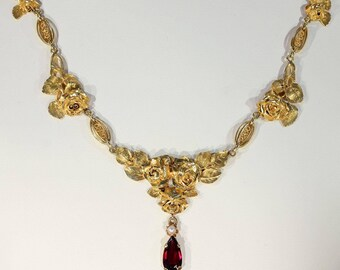 Antique French 18k Gold Garnet Pearl Necklace Floral