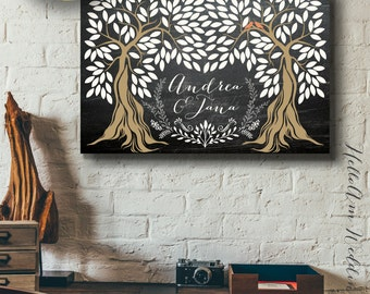 Wedding guest book alternative etsy wedding guest book alternative wedding guest book canvas chalkboard wedding guest book guest book register rustic wedding dcor junglespirit Image collections