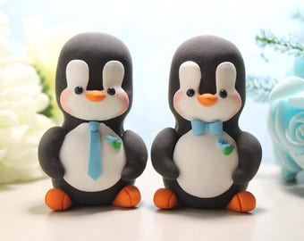 Unique Same sex Penguin wedding cake toppers - gay lesbian 2 brides or 2 grooms - light blue wedding decor gift figurines personalized