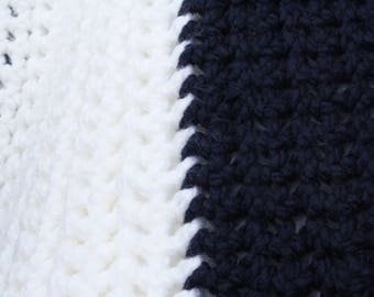 Twin size afghan etsy crocheted navy blue and white twin size blanket dt1010fo