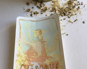 Chamomile vinyl tea sticker - tea label - art nouveau - whimsical design