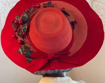 1940s Red Straw & Felt Bonnet w/ Cherries!