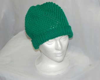 Green Knitted Slouch Hat