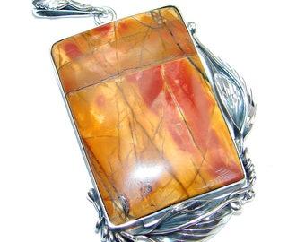 Red Creek Jasper Sterling Silver Pendant - weight 30.40g - dim L - 3 1 8, W - 1 3 4, T - 1 4 inch - code 21-gru-16-24