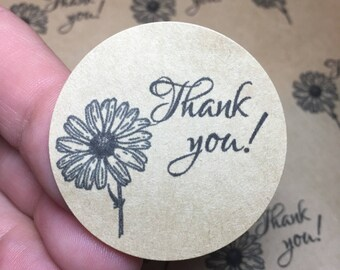 Daisy Thank you labels, thank you stickers, customer appreciation, stickers, thank you labels, flower labels, floral labels,