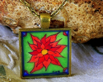 Tiny Poinsettia  Watercolor Painting Necklace