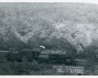 Vintage Original 1940s Photograph of a Steam engine Train moving over a bridge B128 from the USA