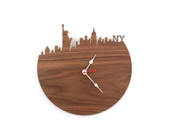Walnut New York Wall Clock - Statue of Liberty, Empire State Building Clock