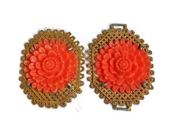Vintage Brooch and Celluloid Buckle Large Carved Orange Flower Gold Weaved Metal Base Victorian Jewelry Collectible Finding Wear or Craft