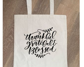 thankful grateful blessed| thankful tote bag| thanksgiving tote| blessed tote| hostess gift| blessed| happy fall| fall tote| give thanks