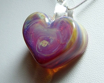 Chunky pale purple & clear solid glass heart pendant - handformed lampwork glass