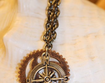 Nautical/steampunk compass necklace on short chain