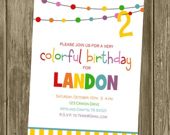 Rainbow/Colorful/Art Birthday Party Invitation