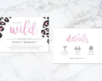 Printable Wild Theme Bachelorette Invitation with Itinerary Details