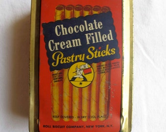 Roll Biscuit Company Tin Box Pastry Sticks Vintage 1950s