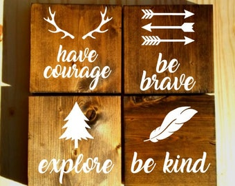 Woodland nursery decor, Rustic nursery sign, Woodland decor, Woodland nursery, Woodland Creature Nursery Signs, be brave sign, be kind sign