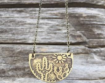 Cacti Necklace - Little Desert Cacti Scene - Hand Drawn Etched Brass - Southwest Cactus Necklace - Cacti Pendant Necklace - Cactus Gift