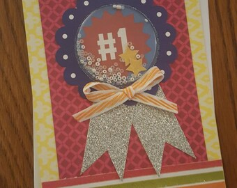 """Handcrafted """"You're #1"""" Greeting Card"""